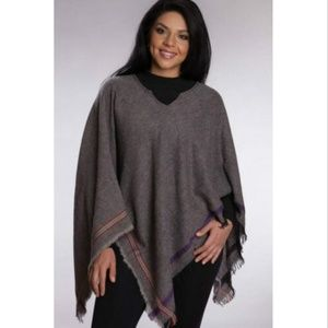 Wool Border Poncho Handmade in India and Fair Trad